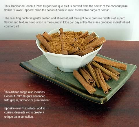 Ground Organic Coconut Palm Sugar infused w/Organic CINNAMON